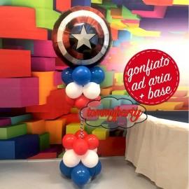 composizione alta con palloncino scudo capitan America