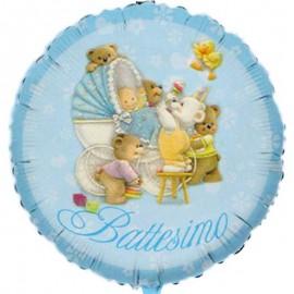palloncino con piccoli orsetti battesimo bimbo