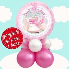centrotavola palloncino battesimo rosa scarpette