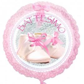palloncino battesimo rosa con scarpette