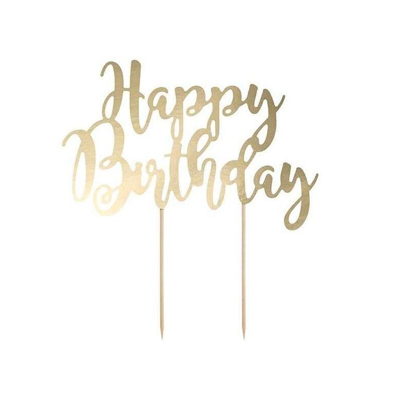 sopra torta happy birthday oro