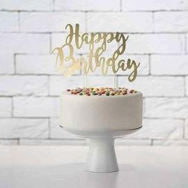 scritta happy birthday oro per torta