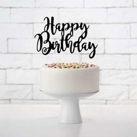 decoro torta scritta happy birthday nera
