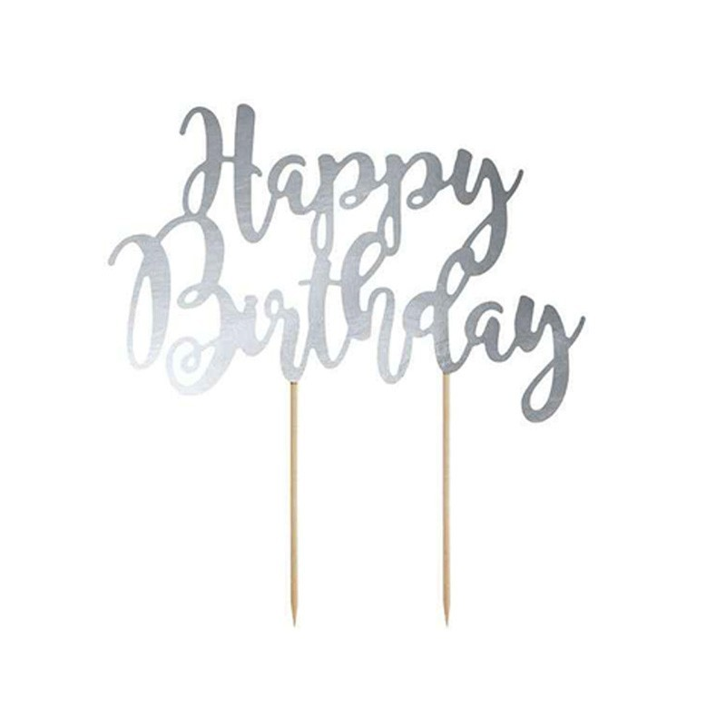 cake topper happy birthday argento