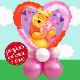 composizione con palloncino cuore di Winnie e Pimpi