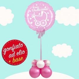 palloncino rosa con carrozzina gonfiato ad elio
