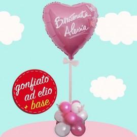 palloncino cuore rosa ad elio con farfalle