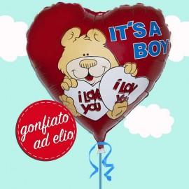 palloncino cuore rosso ad elio per nascita bimbo
