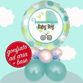 composizione con palloncino baby boy buggy