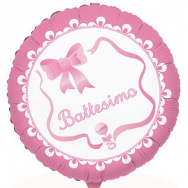 palloncino per battesimo di colore rosa