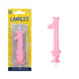 candela cera numero 1 rosa chiaro
