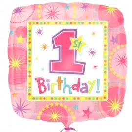 palloncino quadrato rosa mylar primo compleanno