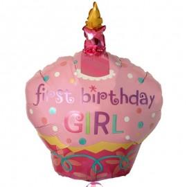 palloncino di un cupcake rosa con candela