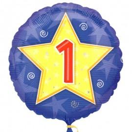 palloncino rotondo con stella e numero 1