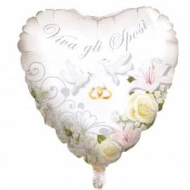 palloncino cuore viva gli sposi