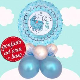 composizione palloncino nascita celeste