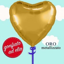 palloncino cuore oro ad elio