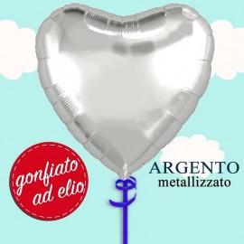 palloncino cuore argento ad elio