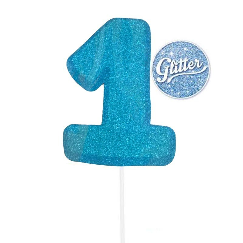 cake topper numero 1 glitter azzurro