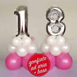 centrotavola numero 18 base rosa