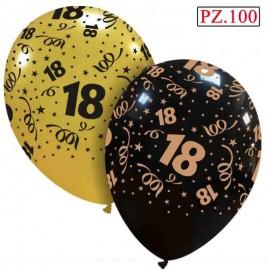 palloncini oro e nero 18 anni stampati