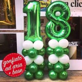 composizione 18 anni numerone verde con base