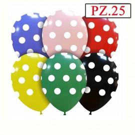 confezione da 25 palloncini a pois