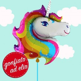 palloncino unicorno arcobaleno gonfiato ad elio