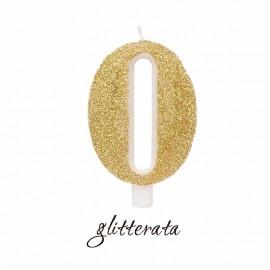 candela numero 0 oro glitterata
