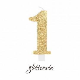 Candelina n.1 Oro glitter