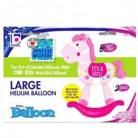 palloncino cavallo a dondolo rosa