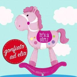 palloncino gonfiato ad elio air walker cavallo a dondolo rosa