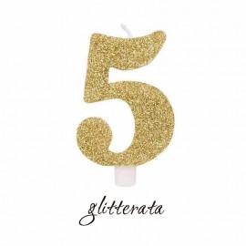 candela numero 5 oro glitterata