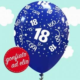palloncino 18 anni blu con stampa gonfiato ad elio