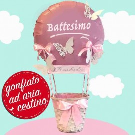 composizione cestino battesimo rosa femminuccia
