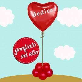 composizione cuore rosso ad elio con dedica