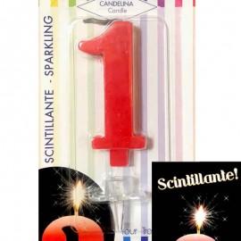 candela numero 1 rossa scintillante