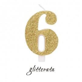 candela numero 6 glitter oro