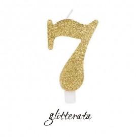candela numero 7 oro glitter
