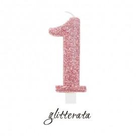candela cera numero 1 rosa gold glitter