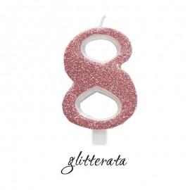 candela numero 8 rosa gold cera glitter