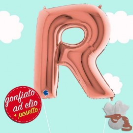 lettera R maxi rosa gold elio