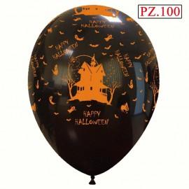 palloncino casa stregata nero e arancione pz.100