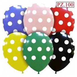 100 palloncini assortiti a pois