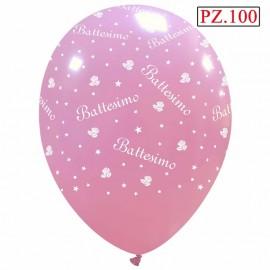 100 palloncini Battesimo Rosa