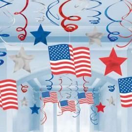 spirali decorative bandiera americana