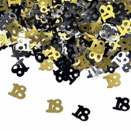 confetti tavolo numero 18 oro nero e argento