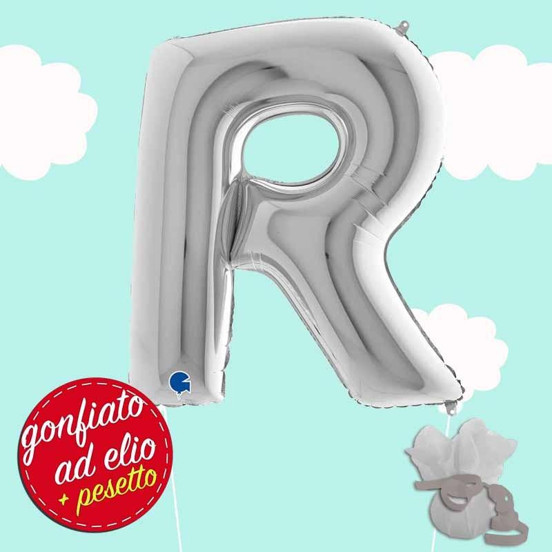 palloncino lettera R maxi ad elio argento