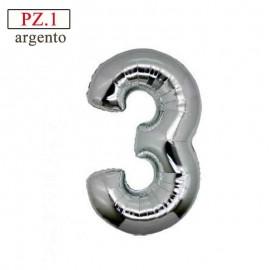 palloncino numero 3 argento medio