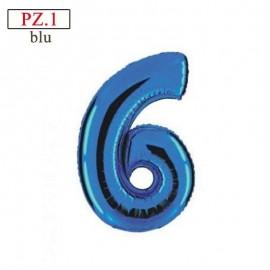 numero 6 palloncino blu medio